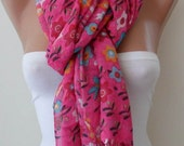 SALE - Pink and Flowered Scarf - Spring Summer collection