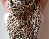 Leopard Scarf with Satin Fabric - Trendy