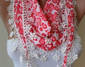 Spring Scarf with White Flowered Trim Edge