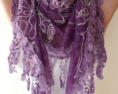 Purple Scarf with Trim Edge ---