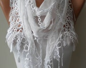 White Scarf with Trim Edge - Very Thin Cotton Fabric