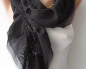 New - Black Ruffled and Chiffon Scarf  with Black Sequins