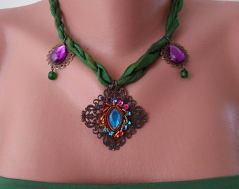 Green and Fuschia Necklace with Silk and Ethnic Items - Speacial Design