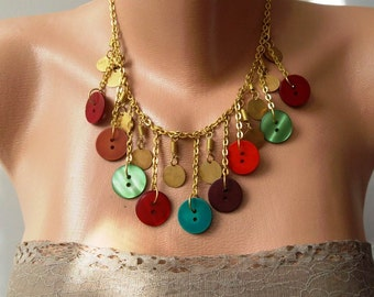 Button Necklace with Chain - Speacial Design