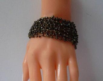 Khaki Green Crochet - Handknitting Bracelet - Special Design