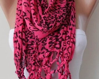 Mother's Day - Pink Leopard - Fashion Scarf - Combed Cotton