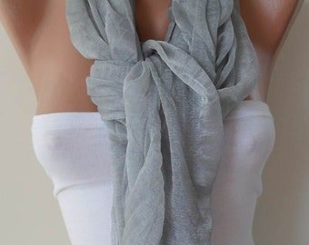 New - Mother's Day Gift Scarf - Light Gray Scarf - Tulle Fabric - Seamless Shawl