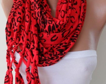 Christmas Gift Holiday Gift Red Leopard Scarf Women Fashion Winter Accessories Winter Scarf Gift for Her Women Scarf