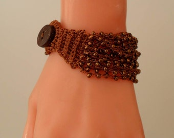 Brown Crochet - Handknit Bracelet - Special Design