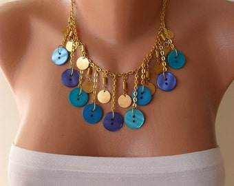 Trendy - Button Necklace with Chain in Blue - Speacial Design