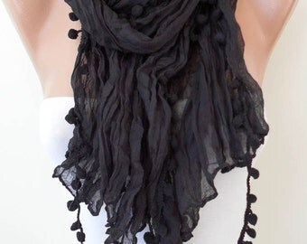 Black Scarf with Pompom Trim - Cotton Fabric