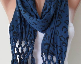 ON SALE - Dark Blue and Black Leopard Scarf