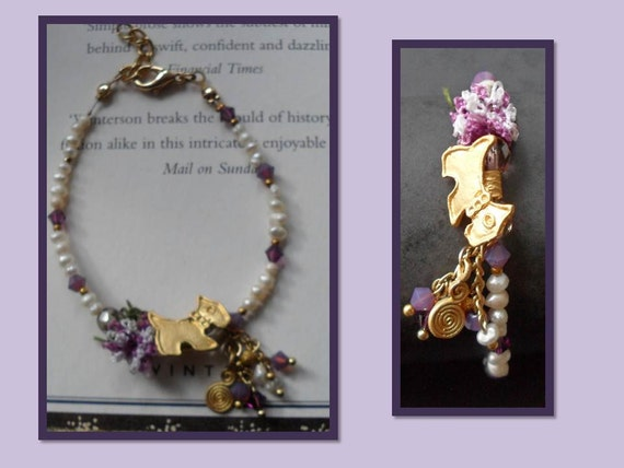 Purple and Ivory Bracelet with Waterfresh Pearl and Oya Lace - Handmade
