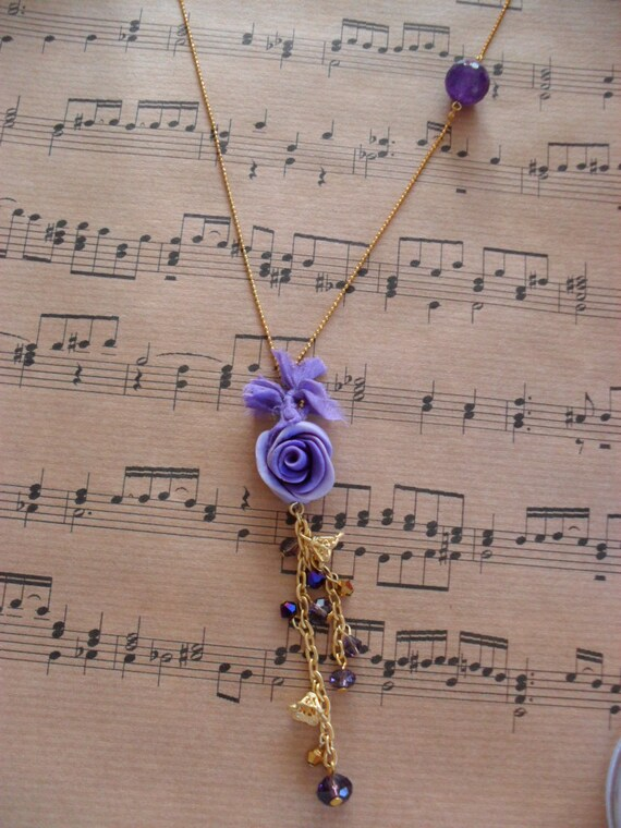 Lilac - Purple Necklace with Crystals and Goldplated Chain - Speacial Design