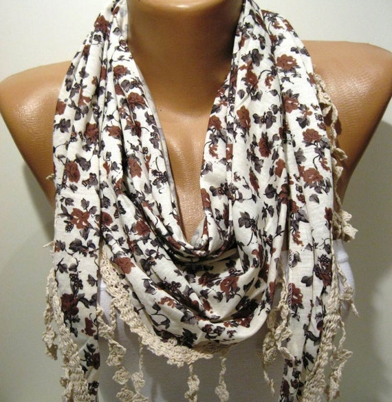 Beige - Brown - Grey and Elegance Shawl / Scarf - with Lace Edge