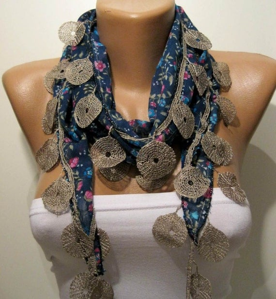 Dark Blue - Flowered Shawl / Scarf with Lace Edge