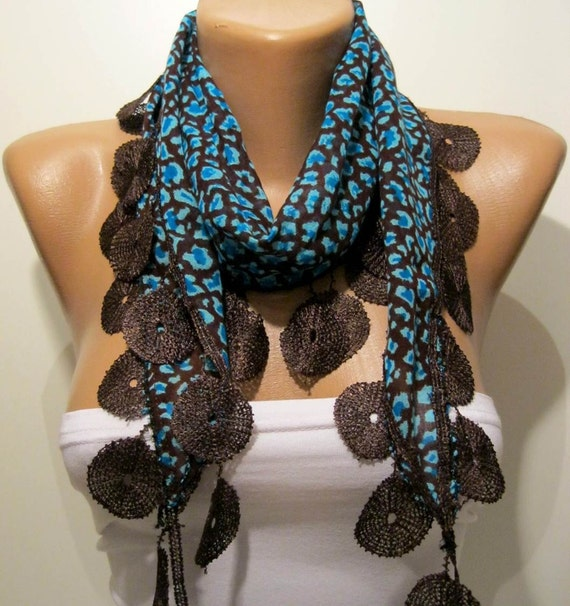 Blue and Brown - Leopard Print Fabric with Brown Trim Edge