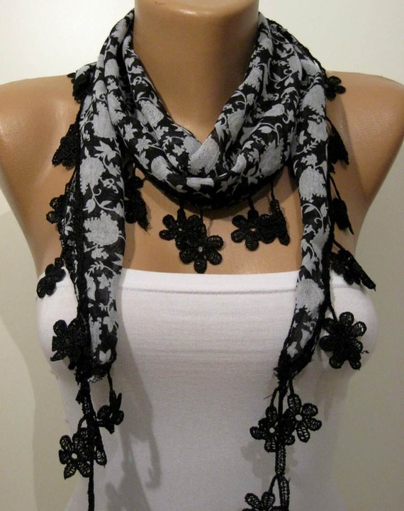 Black - Grey and White Shawl / Scarf with Lace Edge