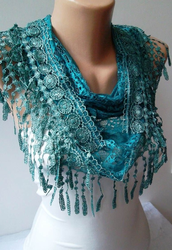 Turqouise Lace and Elegance Shawl / Scarf - with Lace Edge