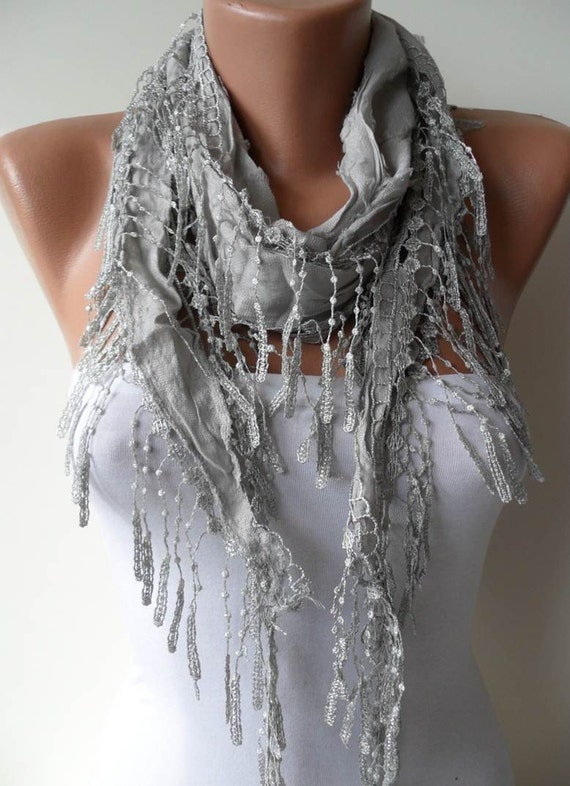 Valentine's Day - Gray Scarf- Light Gray Scarf with Gray Lace Trim Edge