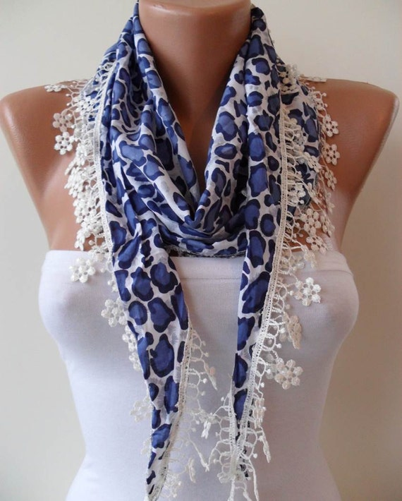 Dark Blue Leopard Shawl / Scarf with Lace Edge - Spring Trend