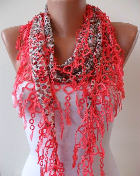 Perforated Fabric - Bright Salmon Spring Shawl / Scarf - with Lace Edge