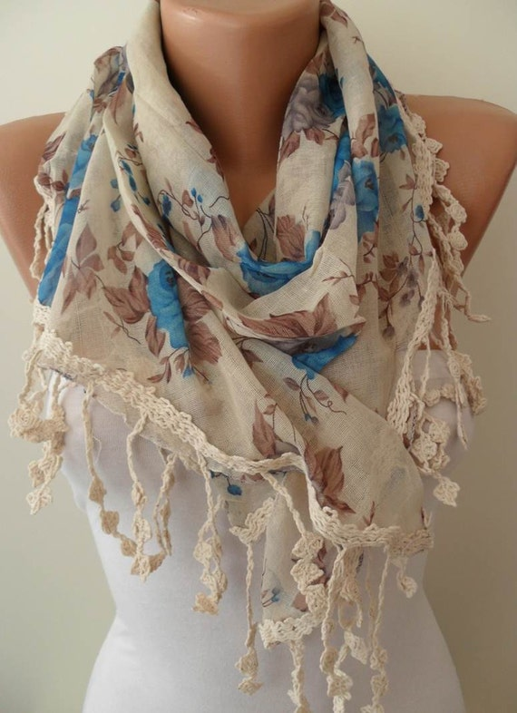 New - Triangular - Linen Scarf - Blue and Beige Scarf with BeigeTrim Edge - Vintage Look - Linen Scarf