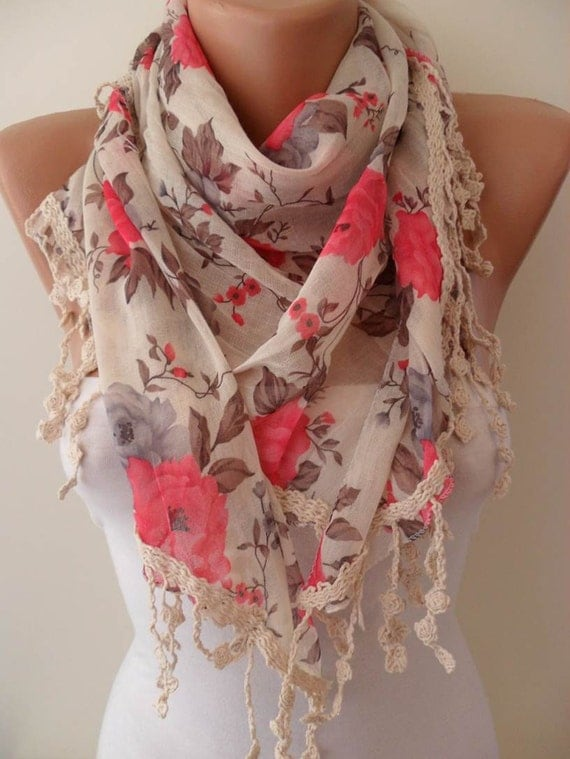 Pink and Flowered Shawl / Scarf - with Lace Edge
