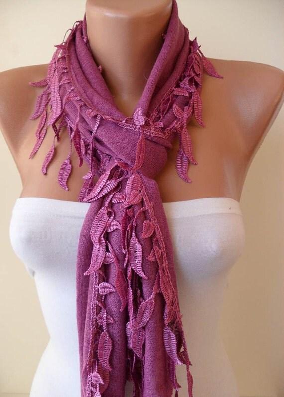 Purple Scarf with Trim Edge Shaped Leaves - Autumn Design