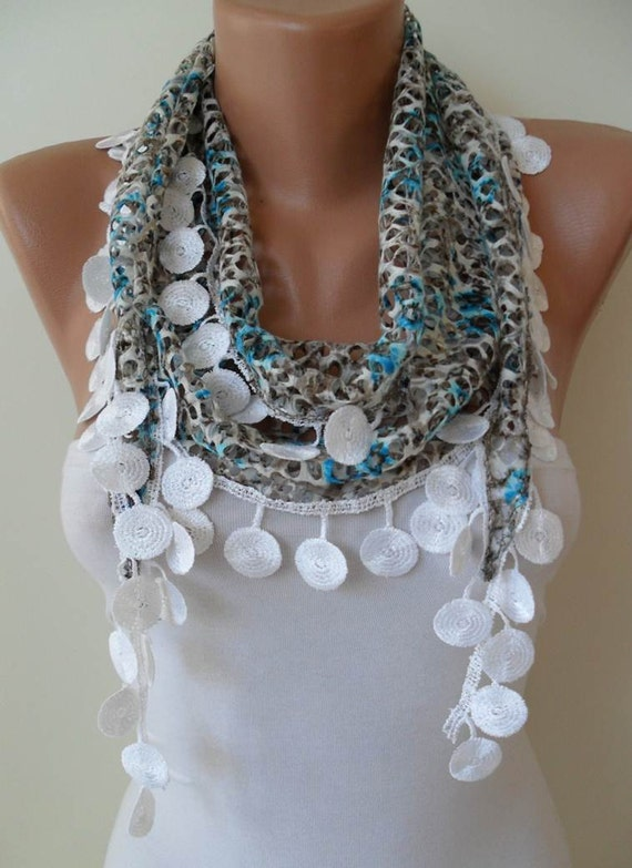 SALE - Perforated Fabric - Blue Grey White Spring Scarf with White Trim Edge