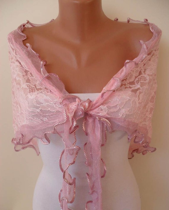 Light Pink Laced Fabric Scarf - Silvery