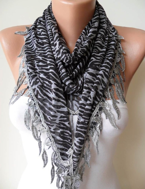 New - Mother's Day Gift - Black and Grey Scarf with Leaves Edge - Leopard Print Fabric