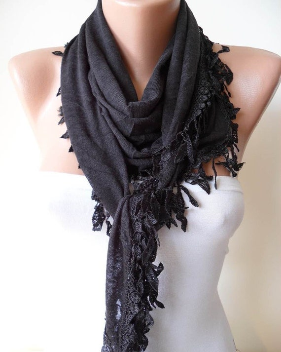 New - Black Cotton Scarf with Black Trim Edge