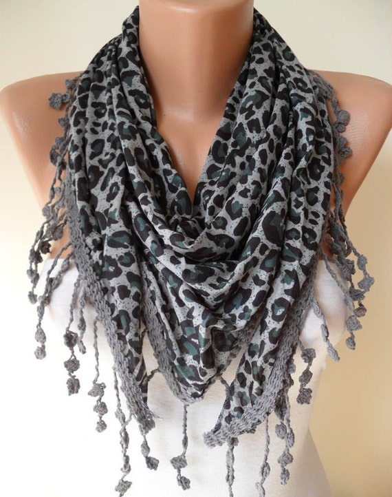 Leopard Print - Grey and Green Scarf - with Grey Trim Edge