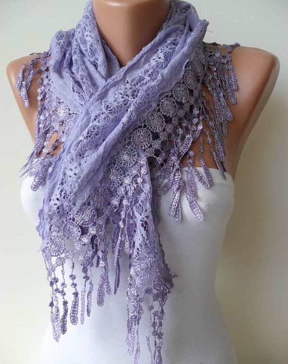 Lilac Scarf with Trim Edge - Spring-Summer Collection