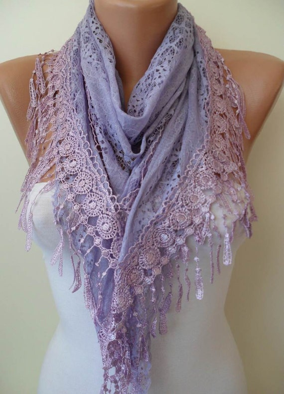 Lilac Scarf with Lilac Trim Edge - Laced Dantela Fabric