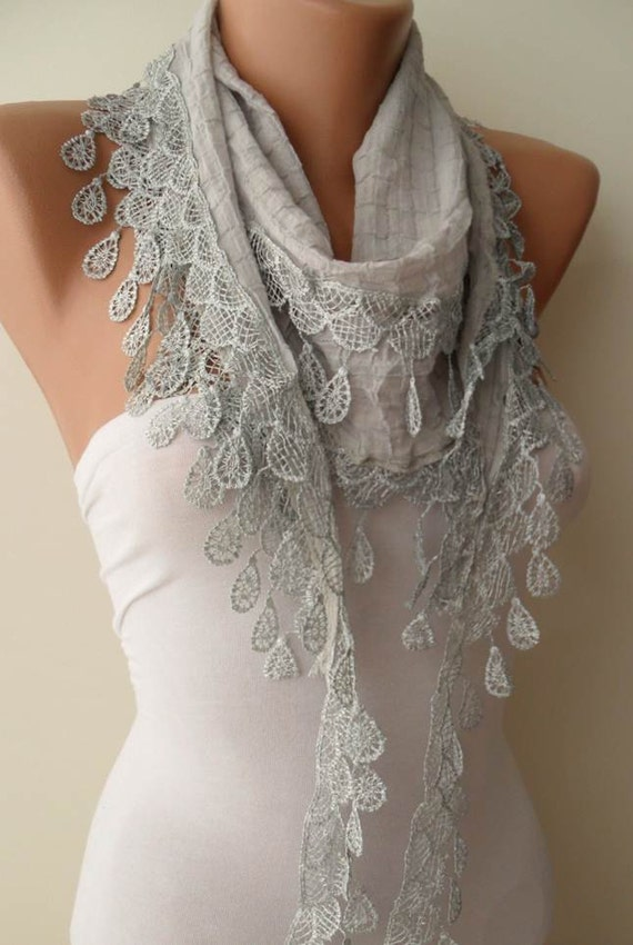 Light Grey and Cotton Scarf with Grey Lace Trim Edge