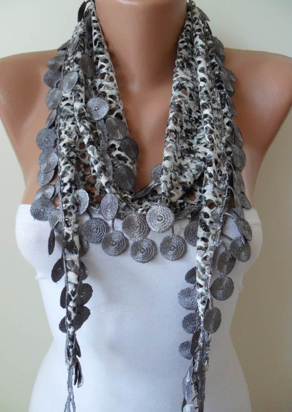 Perforated Fabric - Grey Scarf  with Grey Trim Edge - Spring - Summer Collection