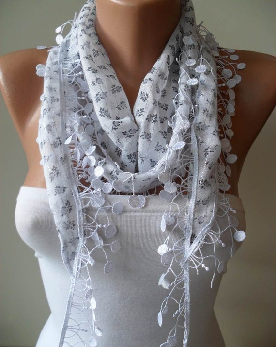 SALE - White Scarf with Grey Flowers  with White Trim Edge -  Silvery Fabric