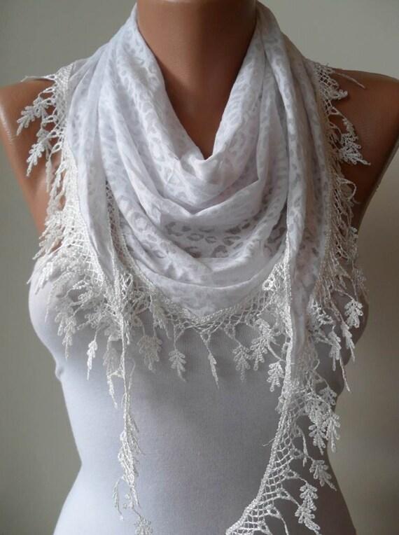 White Scarf with White Trim Edge - White Leopard Fabric - Triangular