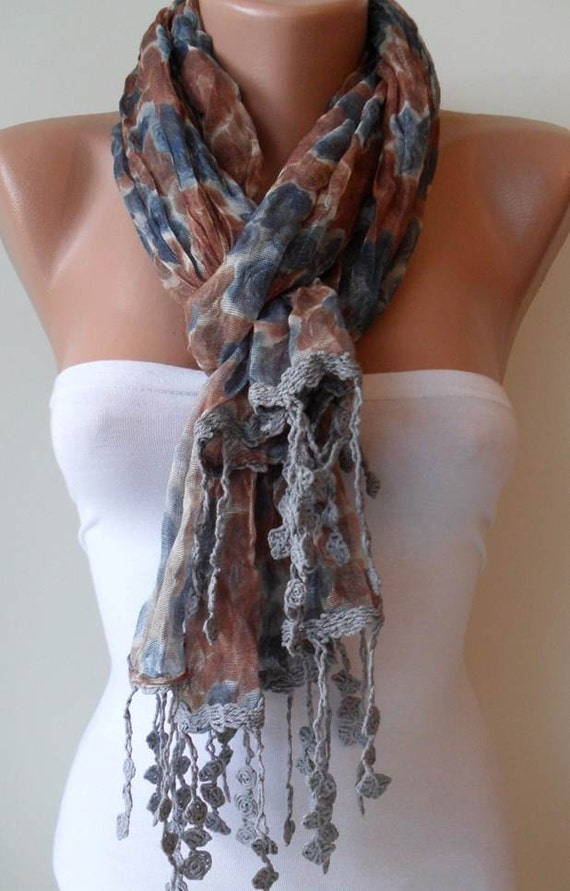 ON SALE - Blue - Brown and Grey - Flowered Scarf - with Grey Trim Edge