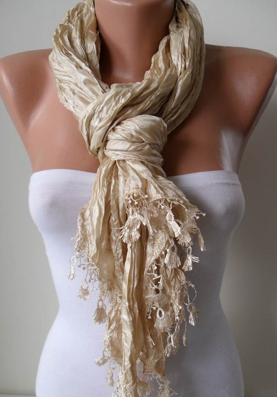 Beige Satin Scarf with Trim Edge