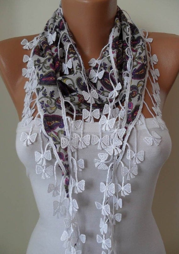White and Purple Scarf with White Trim Edge