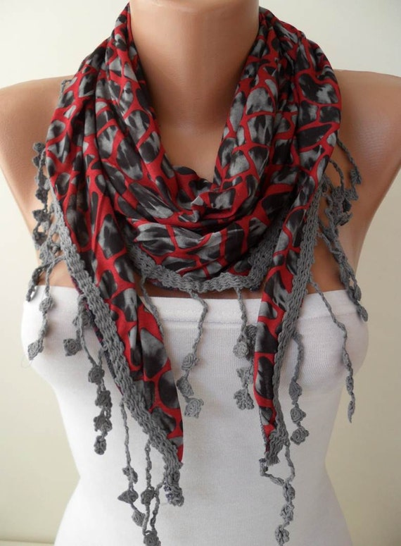 Leopard Print - Red and Grey Scarf - with Grey Trim Edge