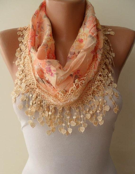 Light Tangerine Scarf with Same Color Trim Edge - Flowered Fabric
