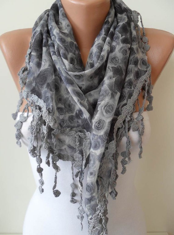 Grey Flowered Scarf - with Grey Trim Edge - Triangular