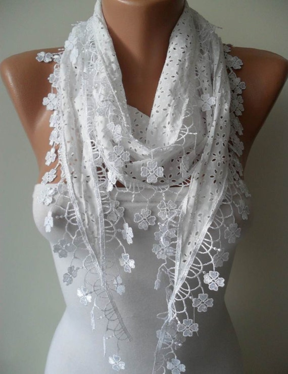 Perforated Fabric White Scarf  with White Trim Edge Shaped Flowers