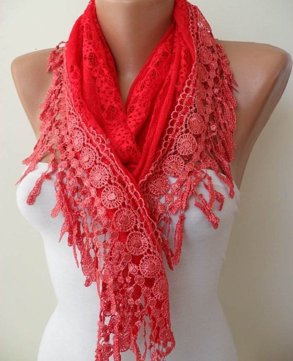 Red Shawl - Red Laced Fabric with Trim Edge
