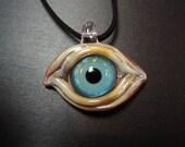 Aqua Blue Glass Eyeball Necklace