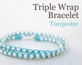 Turquoise Blue Waxed Irish Linen Wrap Around Bracelet with Sterling Silver Beads and Thai Silver Hook Clasp